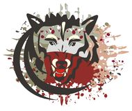 Wolf symbol with bloody splashes Royalty Free Stock Photography