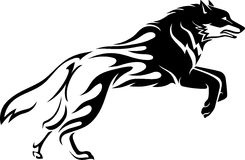 Wolf Tattoo. Flaming abstract body of Fox or Wolf Stock Photo