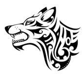 Wolf tattoo shape. Wolf tribal tattoo in Maori ethnic style Royalty Free Stock Photos