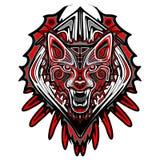Wolf Tattoo Style Haida Art. Ornamental Fierce Wolf Portrait made as Haida Art, or Tattoo Style Stock Photos