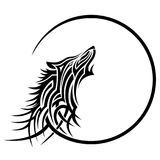 Wolf tattoo tribal design sketch. Simple logo howling wolf moon on a white background stock illustration