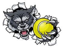 Wolf Tennis Mascot Breaking Background Illustration Libre de Droits