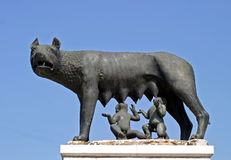 Wolf and two kids. The wolf statue with Remus and Romulus Royalty Free Stock Photo