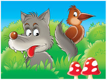 Wolf und Rabe Lizenzfreie Stockfotografie