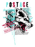 Wolf. Vector illustration ideal for printing on apparel clothes Stock Images