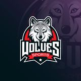 Wolf vector mascot logo design with modern illustration concept style for badge, emblem and tshirt printing. angry wolf
