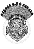Wolf with war bonnet Stock Images