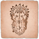 Wolf in war bonnet, hand drawn animal illustration Stock Images