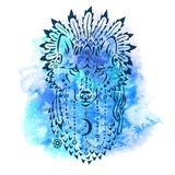 Wolf in war bonnet, hand drawn animal illustration. Native american poster, t-shirt design stock illustration