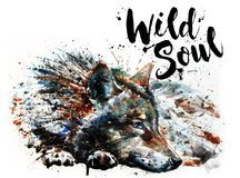 Wolf watercolor painting predator animals Wild soul vector illustration