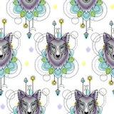 Wolf Watercolor Seamless Pattern astratto Fotografia Stock