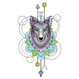 Wolf Watercolor Tattoo astratto Fotografia Stock