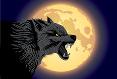 Wolf-of-wicked. Vector scene of the wolf and moon Royalty Free Stock Photo