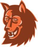 Wolf Wild Dog Head Retro. Illustration of a wolf wild dog head mascot done in retro style on isolated white background Stock Photo