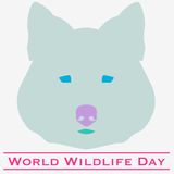 Wolf  World Wildlife Day. Vector illustration of World Wildlife Day with wolf in pastels. March 3. Can be used for your design, card, banner, poster and calendar Stock Photos