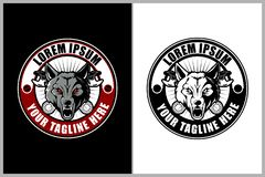 Wolf with wrench for motorcycle club vector logo template royalty free illustration
