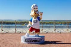 Wolf Zabivaka, officiële mascotte van de Wereldbeker van FIFA van 2018 in Glo stock afbeelding