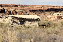 Wolfe Ranch - Arches National Park. This historic cabin, built in 1898, was the homestead of John Wesley Wolfe. It is located within Arches National Park, on Royalty Free Stock Images