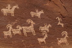 Wolfe-Ranch-Petroglyphen Stockbild
