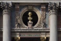 Wolfgang Amadeus Mozart. The bust of Wolfgang Amadeus Mozart 1756-1791 adorns the facade of the Opéra Garnier, Paris, France Stock Photos