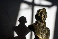 Wolfgang Amadeus Mozart. Close up of Wolfgang Amadeus Mozart statue portrait Royalty Free Stock Photography