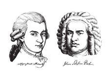 Wolfgang Amadeus Mozart en Johann Sebastian Bach Vector Royalty-vrije Stock Foto's
