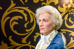 Wolfgang Amadeus Mozart Figurine At Madame Tussauds vaxmuseum arkivfoton
