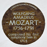 Wolfgang Amadeus Mozart Plaque in London. A plaque in London marking the site of where Wolfgang Amadeus Mozart composed his first Symphony (in 1764 Royalty Free Stock Photography
