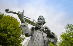 Wolfgang Amadeus Mozart statue. In Parade Gardens, Bath Spa, Somerset, UK Royalty Free Stock Images