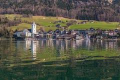 Wolfgang Lake And St.Wolfgang Village-Austria Stock Photo