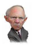 Wolfgang Schäuble karikatyrstående Arkivbilder