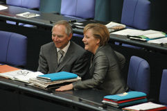 Wolfgang Schaeuble, Chancellor Angela Merkel Royalty Free Stock Images