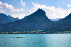 Wolfgang See lake with Sparber and Bleckwand peaks Royalty Free Stock Photo