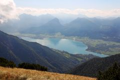 Wolfgangsee, Austria. Panorama view of Wolfgangsee from Schafberg Royalty Free Stock Photos