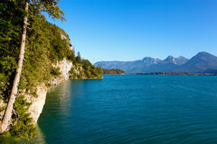 Wolfgangsee lake, cliffs and mountains Royalty Free Stock Images