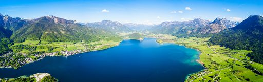 St. Wolfgang aerial view. Wolfgangsee lake and St. Wolfgang im Salzkammergut town aerial panoramic view in Austria Stock Images