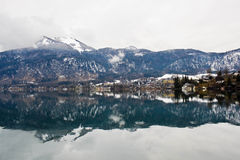 Wolfgangsee lake and village St. Gilgen in austrian Alps Royalty Free Stock Photo