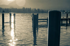 Wolfgansee y montañas Imagen de archivo libre de regalías