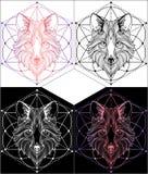 Wolfgraphiktätowierung und T-Shirts Designe eingestellt Stockfotos