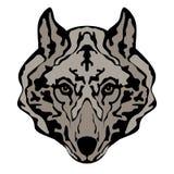 Wolfhauptgesichtsvektor-Illustrationsart Lizenzfreie Stockfotografie