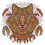 Wolfkopf mit Stammes- aztekischer Verzierung in boho Art Tätowierung Art Stockbilder