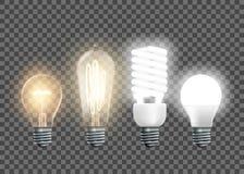 Wolfram-, Edison-, Leuchtstoff und geführteGlühlampen vektor abbildung