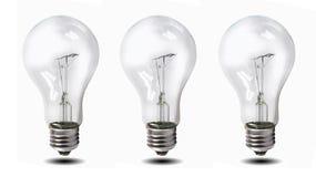 Wolfram lightbulb over witte achtergrond wordt geïsoleerd die Stock Foto's