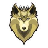 Wolfs головной низкий поли геометрический полигональный плоский элемент логотипа стиля дизайна и иллюстрация вектора талисмана ко Стоковое Фото
