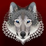 Wolfs face with swirls Royalty Free Stock Image