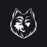 Wolfs hoofd zwart-wit symbool Vector uitstekende illustratie Royalty-vrije Stock Foto