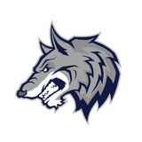 Wolfs hoofdmascotte Stock Foto