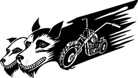 Wolfs and motorbike. Vector illustration. Stock Images