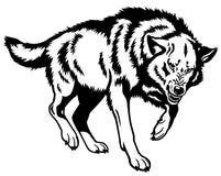 Wolfs zwart wit Royalty-vrije Stock Fotografie