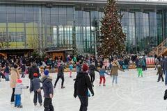 Wolfsburg, χαμηλότερη Σαξωνία, στις 17 Δεκεμβρίου 2017: Τεχνητά παγωμένο lago Στοκ Φωτογραφία